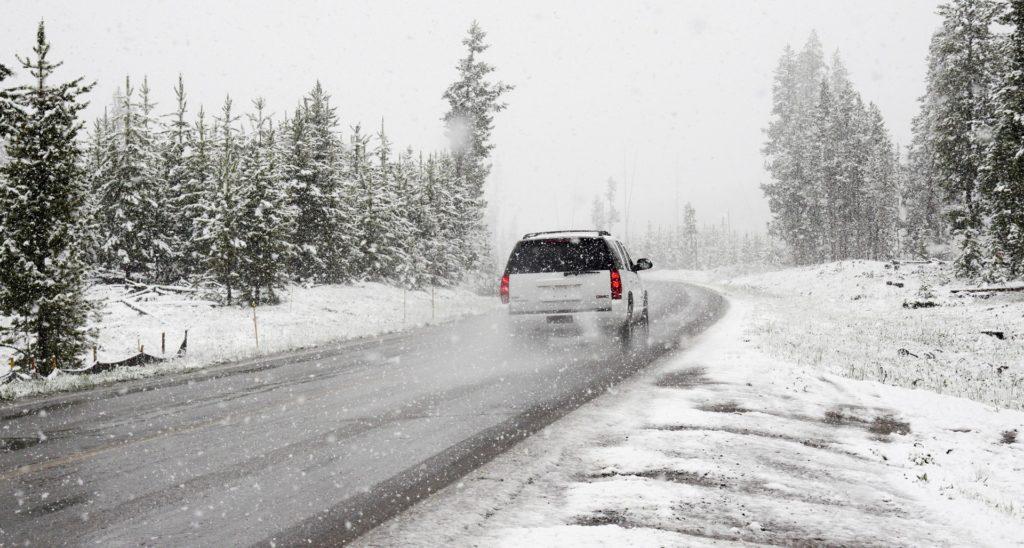SUV on snowy road