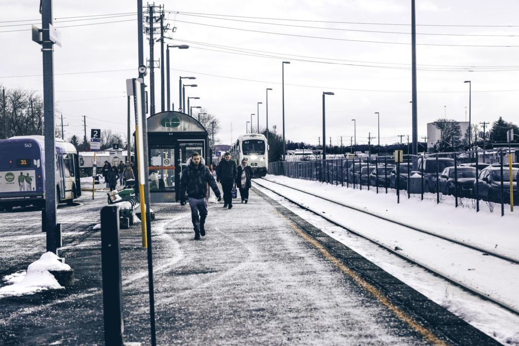 train station on snowy day