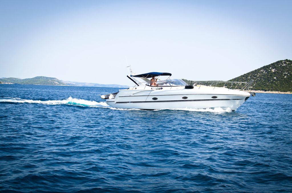 Speedboat cruising the ocean
